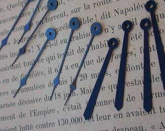 French antique 10pcs pocket watch hands clock hands carved  ornate clock watch hands vintage black blue metal jewelry charm night blue