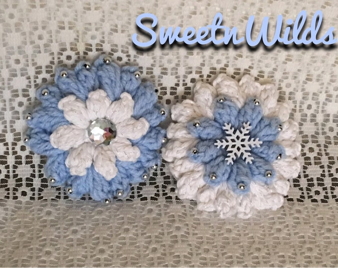 Puffy Flower Hair Clips-Crocheted hairbands-Christmas Ornaments-Holiday decorations-Childrens hair accessories-Blue and White flowers-