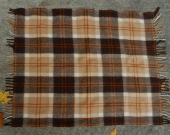 Murray Brothers Scottish Wool Beige, Rust and Brown Wool Lap Blanket