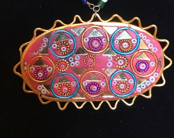"""vintage handmade clay necklace """"pink oval with multi color chain"""