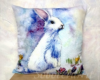Watercolor Pillow Bunny Pillow Rabbit Pillow Pillow Throw Cushion Cover Watercolor Bunny Shabby Chic Rabbit Art Custom Baby pillow WhiteBlue