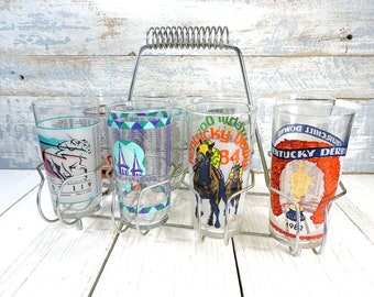 Kentucky Derby Glasses in Metal Wire Holder 8 Vintage Souvenir Drinking Glass Horse Racing Churchill Downs Harry M Stevens Racing Barware