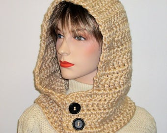 Tan Crochet Hooded Cowl Neck Hoodie, Crochet Hooded Scarf, Hoodie Scarf, Hooded Scarves, Scoodie Scarf, Hat Scarf, Caroline B6-123