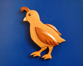 QUAIL BIRD MAGNET ...  Original design, hand crafted from exotic wood