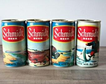 Schmidt Beer Cans, Vintage Schmidt Beer Cans, Collectible Schmidt Beer Cans, Set of 4