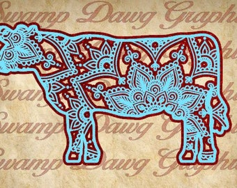 Cow svg, Mandala cow svg, silhouette,cricut, digital file, cut file, cow cut file, mandala svg, cow pattern svg, cow silhouette svg, farming