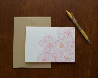 Cherry Blossoms | Handmade Card | Letterpress Printed | For Her | Mother's Day | Birthday | Thank You