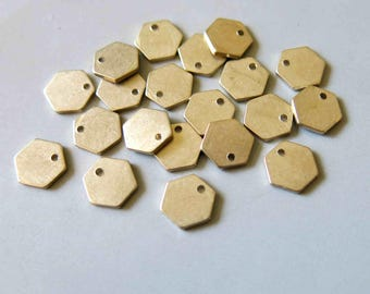 100pcs Raw Brass Hexagon Charms, Stamping Tags Findings 8mm - F479