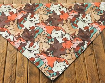 Extra Large Bandana with Velcro Closure - Foxes