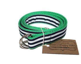 Children's Preppy Navy Striped Belt- Adjustable DRing