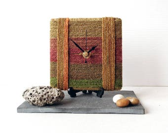 Brown Desk Clock - Stripy Wool Clock - Brown Green Gold Wool Yarn - Square Desk Clock Unique Clock