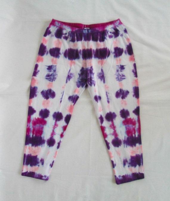 Raspberry, Baby Pink & Deep Purple Womens Tie Dye Capri Leggings/Hand Dyed/Womens Tie Dye/Raspberry, Pink, Purple/Eco-Friendly Dying