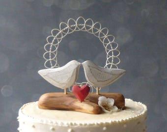 Love Bird Wedding Cake Topper,  Love Bird Cake Topper, Rustic Wedding Topper, Wood and Wire Wedding Decor