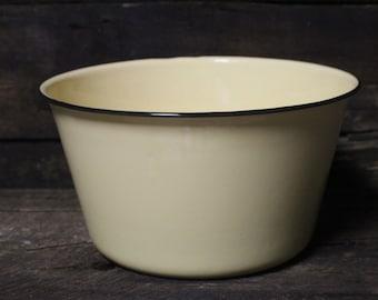 Vintage Yellow Enamelware Deep Bowl, Enamelware Large Bowl
