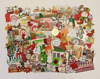 Christmas Themed Grab Bag Goody Bag for Scrapbooking Card Making Junk Journals 80+ items
