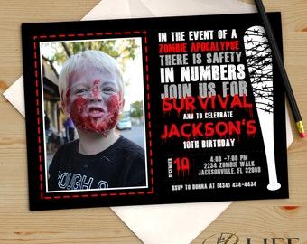 Zombie Apocalypse Dead Walker Birthday Invitation Printable DIY