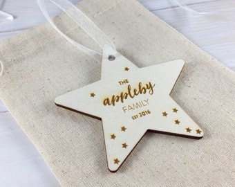The New Family EST 2017 // Personalised Wooden Star Christmas Tree Decoration