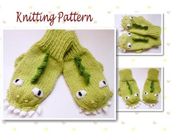 Knitting Pattern Dinosaur Dragon Mittens Animal Mittens Character Mittens Gloves Hand Warmers Novelty Mittens