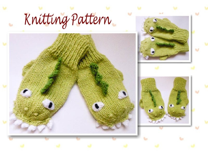 Knit Dinosaur Pattern : Knitting Pattern Dinosaur Dragon Mittens Animal Mittens