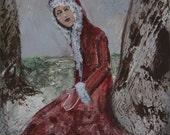 Original painting, Mother Christmas, acrylic painting, figurative art, winter girl, nature lover, 5 x 7 inch, unframed, folk art