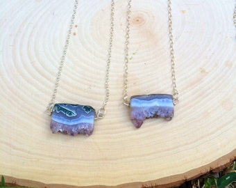 Amethyst slice necklace on Sterling Silver chain