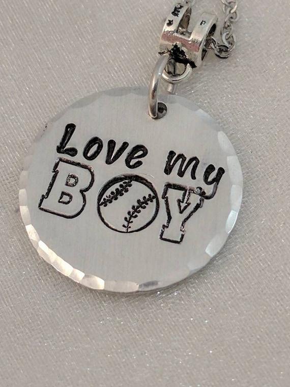 Baseball Mom Jewelry - Baseball Necklace - Sports Mom Jewelry - Baseball Pendant - Love My Boy - Gift for Team Mom - Team Necklace - Coach