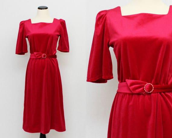 70s Fuchsia Velveteen Cocktail Dress - Vintage 1970s Short Pink Belted Velvet Party Dress
