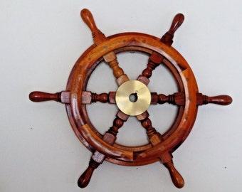 "16"" Wooden Nautical Ship Steering Wheel - Fishing Wall Boat - Pirate Decor"