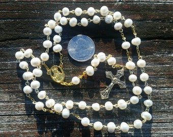 Catholic Rosary Freshwater Pearl Beads