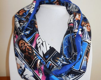 Star Wars Scarf, Cotton Flannel, Starwars Infinity Scarf, Classic Darth Vader, Princess Leia, R2D2, Women Teen Girl