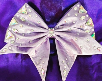 Sparkly Lavender handsewn bow with AB crystal rhinestones, pearls and jewels