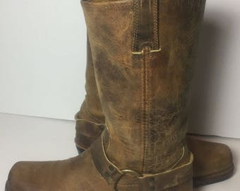Frye 77300 Harness Brown Leather Motorcycle Biker Riding Boot 12r Women's Size 8.5