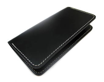 Black leather checkbook cover, free initial monogram personalization