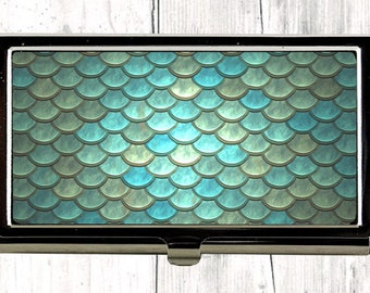 Mermaid Scales Business Card Case, Teal Credit Card Holder, Greenery Womens Wallet, Fish Scale Metal Card Case, Office Accessory