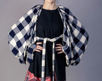 Wool oversized cape