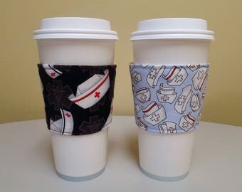 Coffee Cozy made from Nursing Hats Fabric Custom Coffee Sleeve,Coffee Cup Sleeve,Coffee Cup Holder,fabric coffee holder, iced coffee cozy