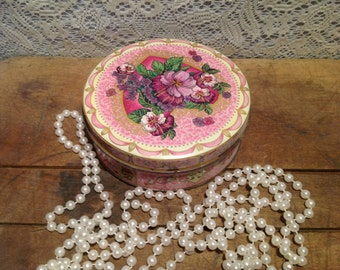 Purple Pansies Round Tin