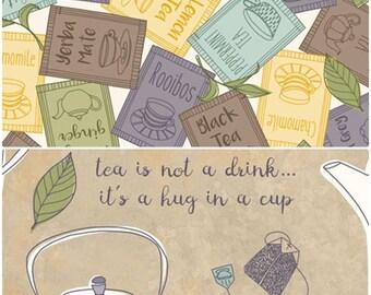 Tea-Rrific Tea Cotton Fabric by Quilting Treasures! [Choose Your Cut Size]