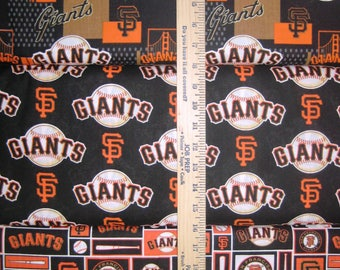 San Francisco Giants MLB Black & Orange Logo Cotton Fabric by Fabric Traditions! [Choose Your Cut Size]
