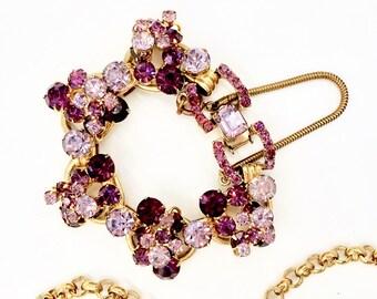 Vintage D&E JULIANA BRACELET DeLizza Elster Gold Tone Purple Lavender Rhinestone Bracelet