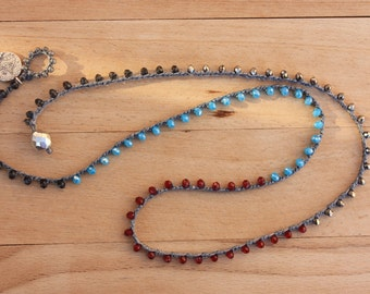 Turkish Coin Crochet Bracelet&Necklace,  Multi Wrap Beaded Jewelry