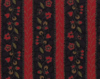 """Red and Black stripe fabric part of the """"Bits and Pieces"""" line by Kathy Schmitz."""