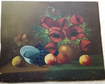 Antique Painting on Venesta Board Still Life Red Poppies, Grapes and Peaches on Rustic Table. ca Early 1900s