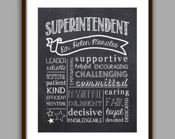 Superintendent Gift, Best Superintendent Chalkboard Printable, Superintendent Christmas,  Digital File 8x10 JPG File