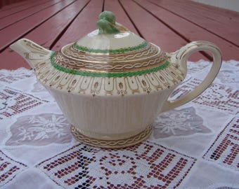 Vintage English Teapot 1930's Cream, Green and Gold Trim