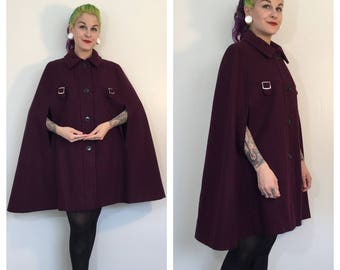 Vintage 1970's Plum Purple Cape