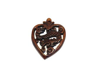 Carved Asian Wooden Heart With Dragon Pendant