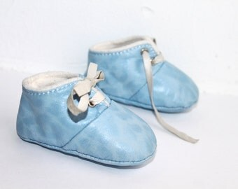 12 - 18 Months Slippers / Baby Shoes Lamb Leather OwO Shoes Blue Blanc