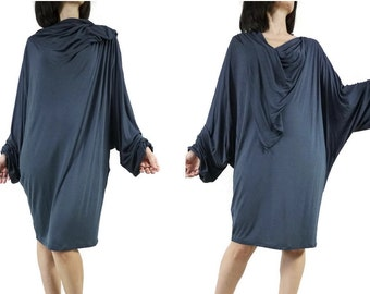 SALE - Oversize Chic Cowl Neck Longsleeve Batwing Dark Blueish Charcoal Polyester Jersey Women Tunic Dress Top TN016 - Size 2 To Size 14