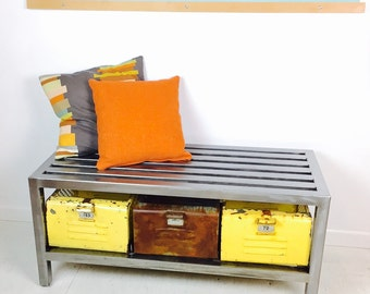 SALE! Polished Steel Entry Bench with Vintage Gym Locker Baskets